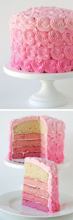 The most beautiful cake ever! Includes recipe and instructions to create this gorgeous Pink Ombre Swirl Cake.