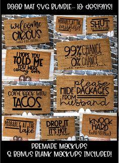 Door Mat Cutting Bundle Designs - Ma Home Design Cricut Vinyl, Cricut Craft Room, Cricut Stencils, Vinyl Crafts, Vinyl Projects, Diy And Crafts, Circuit Projects, Fun Projects, Diy Projects To Sell