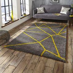 Royal Nomadic 5746 Grey/Yellow Rug By Think Rugs Living Room Grey, Rugs In Living Room, High Pile Rug, Room Carpet, Green Carpet, Grey Yellow, Yellow Rugs, Grey Rugs, Rugs Online