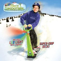 The Original LED Ski Skooter Fold-up Snowboard Kick-Scooter for Use on Snow & Grass Snow Sled Winter Toys Winter Hiking, Winter Fun, Winter Sports, Fun Winter Activities, Winter Crafts For Kids, Snow Sled, Summer Vacation Spots, Kids Scooter, Lake George