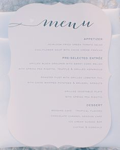 The courses at this Florida beach wedding were outlined on a flat-printed menu card by Minted.