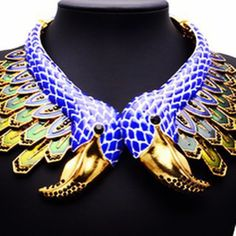 jewels celebrity style swan blue gold choker necklace statement necklace fashion necklace