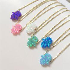 cat eye pendant opal hamsa necklace