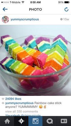 Rainbow cake sticks