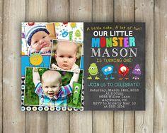 Little Monster First Birthday Invitation, Boys 1st Bday Invites, Multiple Photos, Digital File, Print Yourself
