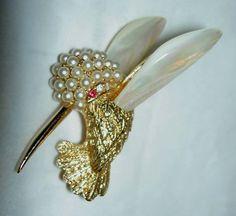 MARCEL BOUCHER Garnet Eye Rhinestone Faux Pearl Hummingbird Bird MOP Pin Brooch  #Boucher