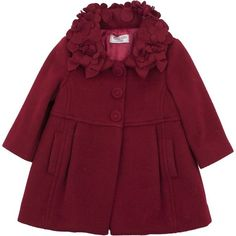Monnalisa Baby Girls Red Wool Coat With Flower & Bow Collar ❤ liked on Polyvore featuring baby, baby clothes, kids and children