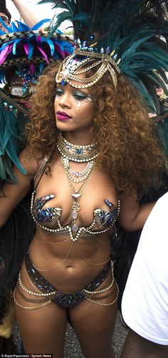 Carnival queen: Rihanna wore an eye-catching look for the big street event BARBADOS FESTIVAL