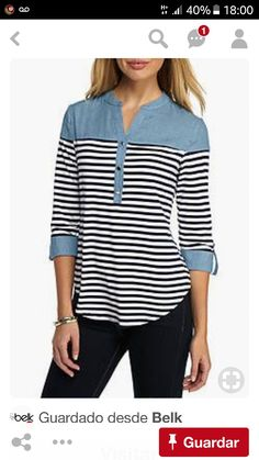 New Directions® Striped Button Front Chambray Top Umgestaltete Shirts, Shirt Blouses, Sewing Clothes, Diy Clothes, Clothes For Women, Casual Dresses, Casual Outfits, Chambray Top, Indian Designer Wear
