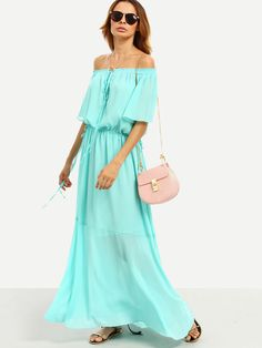 Shop Green Tie Waist Off The Shoulder Maxi Dress online. SheIn offers Green Tie Waist Off The Shoulder Maxi Dress & more to fit your fashionable needs.