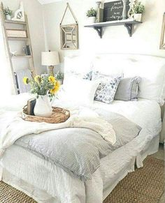 beautiful farmhouse style bedroom #modernbedroom #bedroomideas #masterbedroom #decorbedroom #dreambedroom