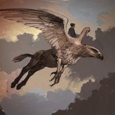 Concept art for Harry flying on Buckbeak