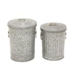 Benzara 53930 Marvellous Metal Galvanized Trash Can - Set Of 2