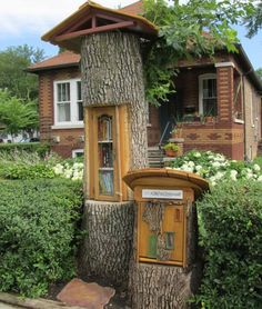 very creative little free library.