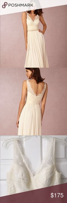 """Anthropologie BHLDN Ivory Bridesmaids Dress Anthropologie BHLDN Fleur Bridesmaid Dress in Ivory, Size 10. I wore this dress in my sisters wedding. It's in great condition, no stains, tears or marks. It has been dry cleaned. I am 5'7"""" and wore the dress with flats. Anthropologie Dresses Wedding"""