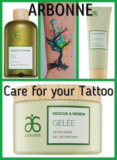 Arbonne Tattoo care with the new Rescue & Renew range.