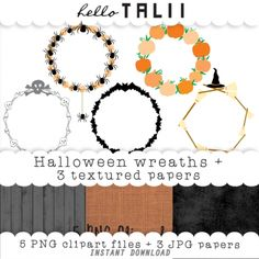 #Halloween #Wreaths #Clipart - http://luvly.co/items/4079/Halloween-Wreaths-Clipart-3