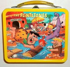 The Flintstones Antique Lunch Box (Old Vintage 1964 Yellow Hanna Barbera Metal Lunchbox, Fred, Wilma, Barney, Pebbles)