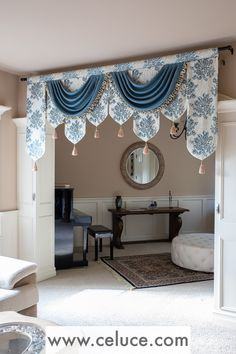 Swags and pelmets are combined together to create this elegant window treatment. Curtains And Draperies, Elegant Curtains, Beautiful Curtains, Home Curtains, Colorful Curtains, Kitchen Curtains, Valances, Window Curtains, Rideaux Design