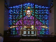 Stained Glass Window at Buckfast Abbey - geograph.org.uk - 207061.jpg