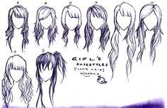 Side swoop bangs for long hair.