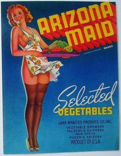ARIZONA MAID Phoenix, Arizona Vegetable Crate Label