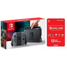 Nintendo switch gray console with joycon wireless controls and 12 month online individual membership Electronics Projects, Classic Nes Games, Game Data, Smartphone, Nintendo Eshop, Parental Control, Hdmi Cables, Game Controller, Entertainment System