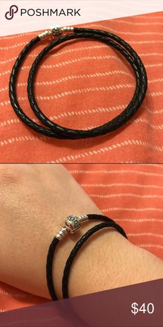 NWOT Pandora Black Double Braided Leather Bracelet It's the perfect starter bracelet for anyone wanting to add any of Pandora's gorgeous charms! It's simple yet elegant in it's own beauty!  Pandora Jewelry Bracelets