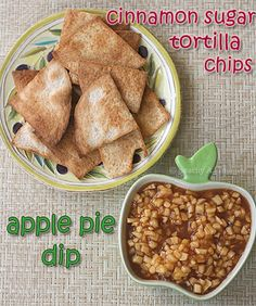 Apple pie dip with cinnamon sugar tortilla chips