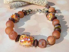 Dawn at Shell Beach Bracelet by Fire Imp Lampwork Beads