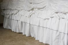 DIY Ruffled Bedskirt made from flat sheet for less than $10 from BeingBrook!