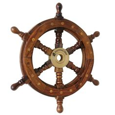 """Nautical Cove Wooden Ship Wheel 18"""" Pirate Decor, Ships Wheel for Home, Boats, and Walls"""