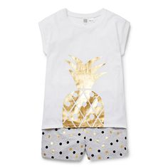 100% Cotton. Jersey, short sleeve PJ. Features gold foil pineapple placement print on front tee and gold foil and black spot yardage on shorts. Relaxed fitting silhouette. Available in Gold.