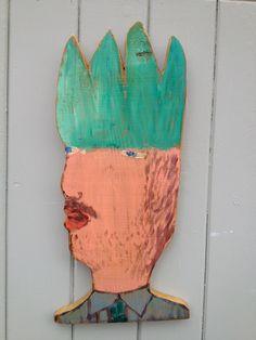 Art Brut Hand painted decorative wooden head by Scrangemuko, £25.00