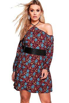 Robe Femme Grande Taille Robe Droite Florale Ouverte Aux Épaules - EUR 50,99