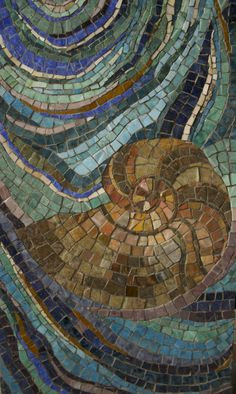 Nautilus and Hurricane detail Mosaic Wall, Mosaic Glass, Mosaic Tiles, Tiling, Mosaic Crafts, Mosaic Projects, Mosaic Designs, Mosaic Patterns, Nautilus