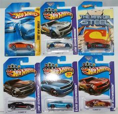 "HOT WHEELS LOT OF 6 NEW CAMARO   6 DIFFERENT VARIATIONS  HARD TO FIND COLLECTIBLES  1) 2007 ORANGE METALLIC KMART EXCLUSIVE  CHEVY CAMARO CONCEPT  2) 2013 ZAMAC '12 CAMARO ZL1 HW SHOWROOM  3) 2013 RED SUPERMAN CUSTOM '11 CAMARO  4) 2013 BLUE HOT WHEELS CHEVY CAMARO SPECIAL EDITION  HW SHOWROOM  5) 2013 RED '12 CAMARO ZL1 HW SHOWROOM  6) 2013 BLACK '10 CAMARO SS HW SHOWROOM  ""ADD THESE COOL CARS TO YOUR COLLECTION BEFORE THEY ARE GONE!!"", $19.88"