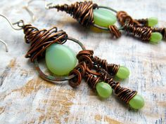 urban gypsy copper wire wrap earrings -love the organic earthy-ness of the colors and the wire wrapping.