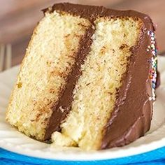 Classic Yellow Cake with Chocolate Frosting via @browneyedbaker