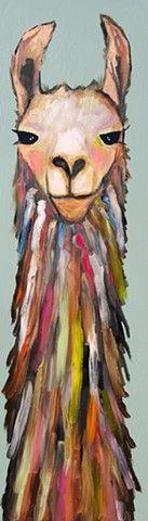 "Eli Halpin. Llama in Pale Green 2013 oil on recycled wood 11.75"" x 39.25"". (c)…"