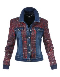 Veste. On craque pour son mix de denim et de tweed ! A tomber !