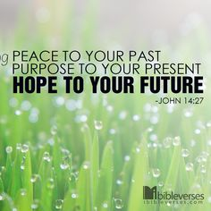 Peace to your past purpose to your present hope to your future. John 4:27