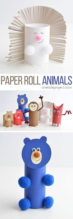 These paper roll animals are SO CUTE and they're easy to make using simple craft supplies! This is a super fun kids craft that they can actually play with! Animal Crafts For Kids, Fall Crafts For Kids, Paper Crafts For Kids, Easy Crafts, Minion Craft, Hedgehog Craft, Back To School Crafts, School Stuff, Toilet Paper Roll Crafts