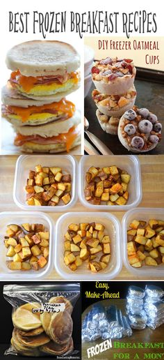 Best frozen breakfast meals recipes. To make ahead and eat on the go.  Frozen breakfast sandwiches. Frozen breakfast burritos. Frozen pancakes. Frozen oatmeal cups. and even frozen breakfast bowls