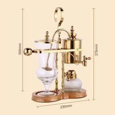 Belgian Belgium Luxury Royal Family Balance Syphon Siphon Coffee Tea Pot Maker Golden