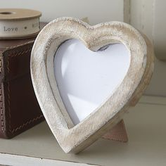 distressed white wooden heart