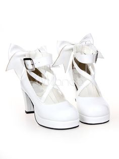 Dandy Street Wear White PU Leather Bow Platform Lolita Shoes Source by bitofdutch Shoes Old Fashion Dresses, Teen Fashion Outfits, Fashion Shoes, Sock Shoes, Cute Shoes, Me Too Shoes, Kawaii Shoes, Kawaii Clothes, Kawaii Fashion