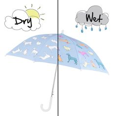 Magical Colour Changing Cats & Dogs Umbrella will be loved by boys when walking to school on a wet morning.