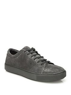 Vince Perforated Suede Leather Sneakers - Flint - Size 8.5 M