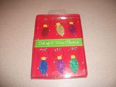 WINE CHARMS - 6 CHRISTMAS ORNAMENT SHAPED WINE CHARMS. MULTI COLOR NEW IN BOX